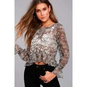 🆕 Grey Floral Print Embroidered Sheer Top